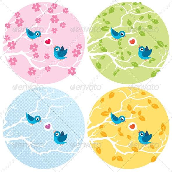 Love Birds - Decorative Symbols Decorative