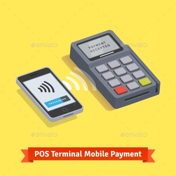 POS Terminal Wireless Mobilepayment Transaction - Technology Conceptual