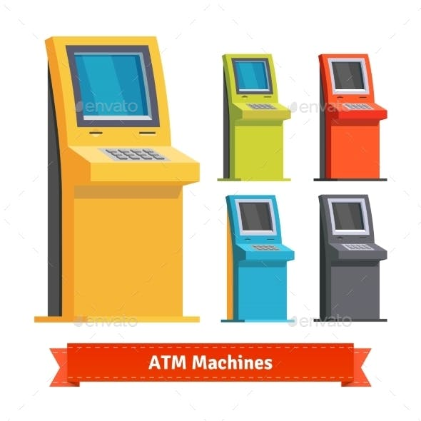 Colorful ATM Machines, Terminals Or Info Kiosks