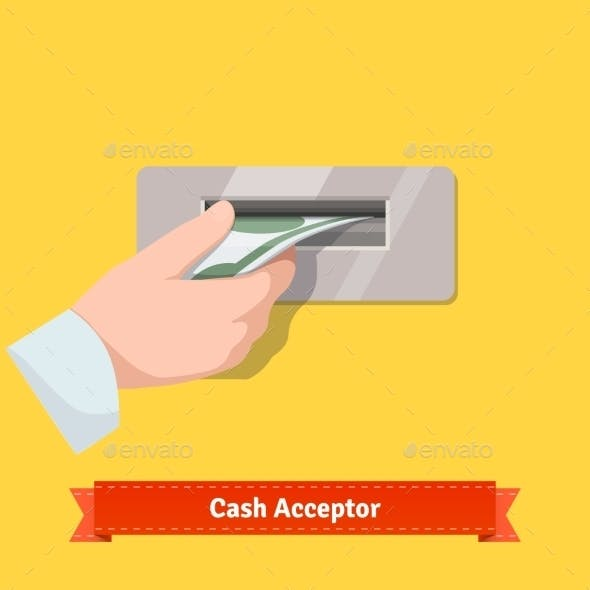 Human Hand Putting Banknote To a Cash Validator