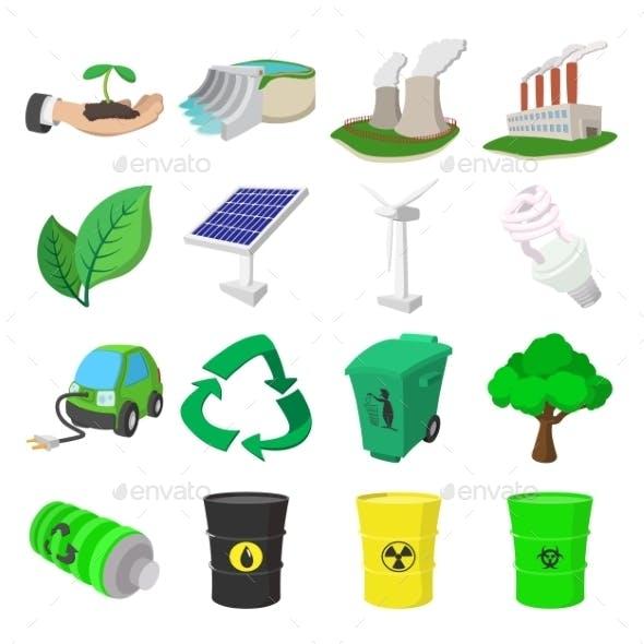 Ecology Cartoon Icons Set