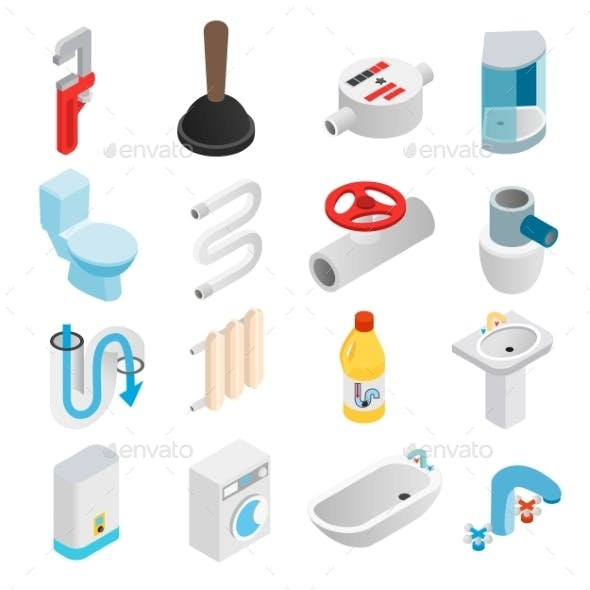 Sanitary Engineering Isometric 3d Icons