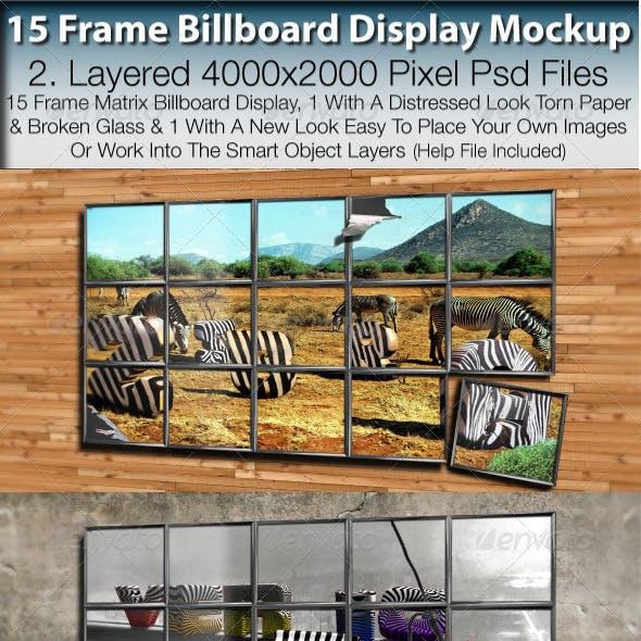 Billboard 15 Frame Advertising Display Mockup