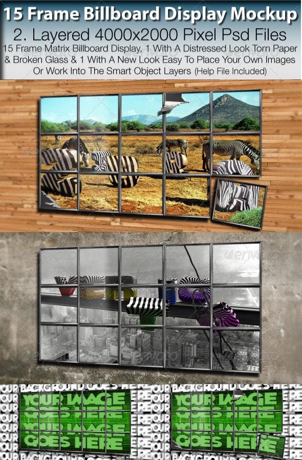 Billboard 15 Frame Advertising Display Mockup - Miscellaneous Photo Templates