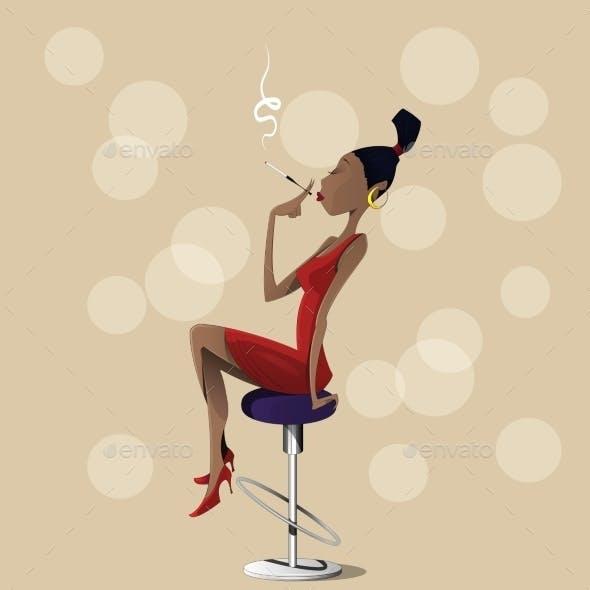 Cartoon Lady Sitting on a High Chair