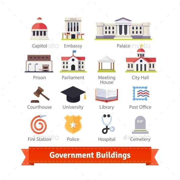 Government Buildings Colourful Flat Icon Set