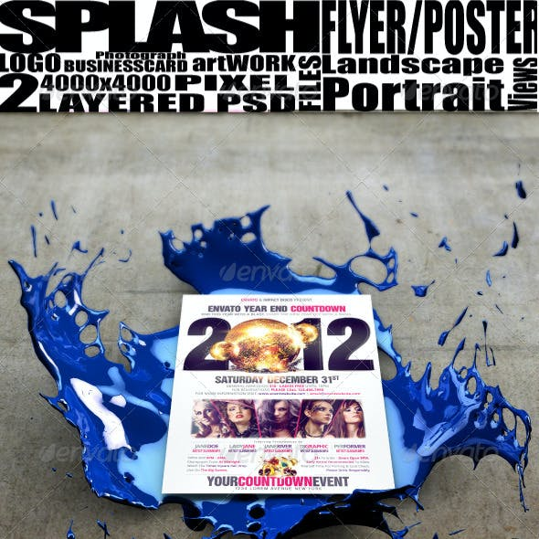 3D Splash Poster/Flyer Mockup Template