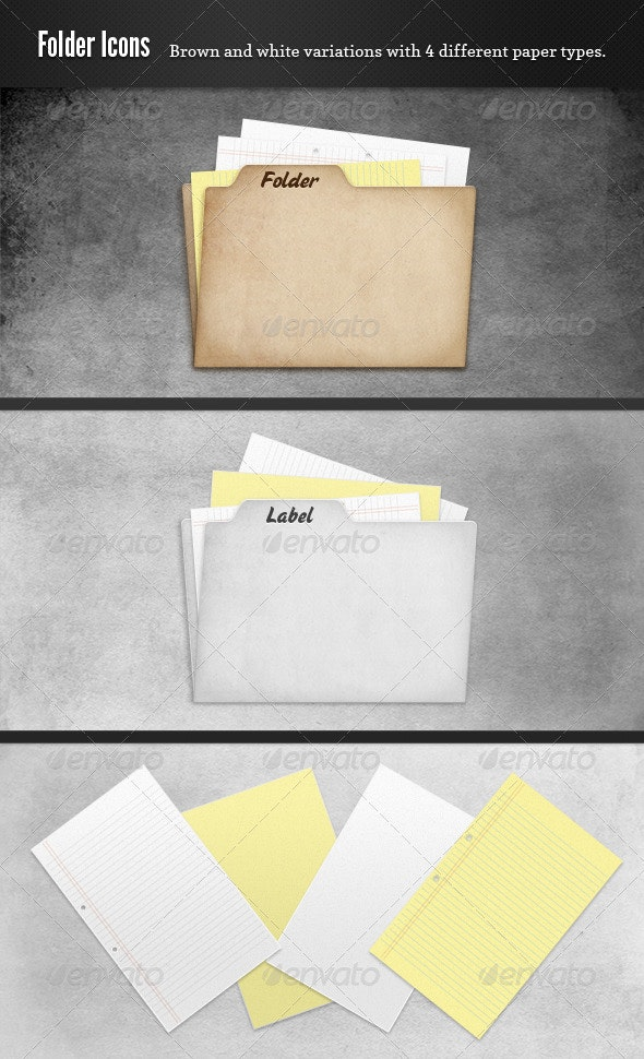 Cardboard Folder and Papers - Objects Icons