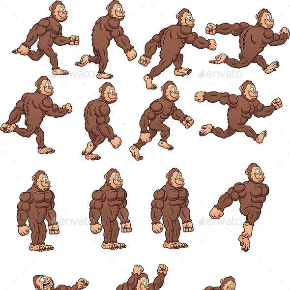 Cartoon Gorilla Sprites