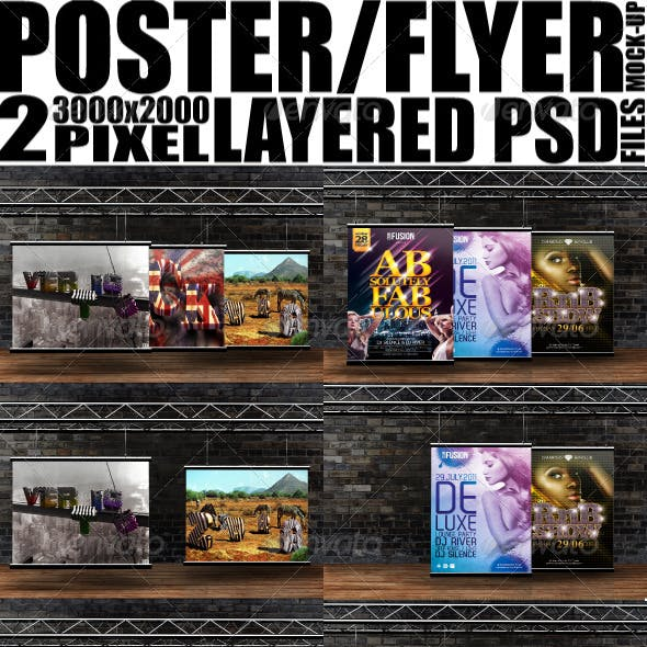 Poster / Flyer Hanging From Rigging Mockup