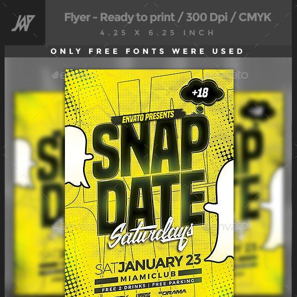Snapdate Saturdays Party Flyer