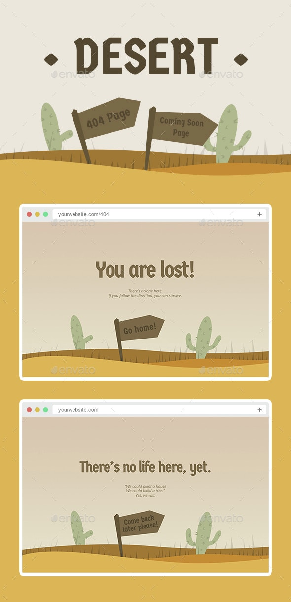 Desert - 404 Page and Coming Soon Page Design - 404 Pages Web Elements