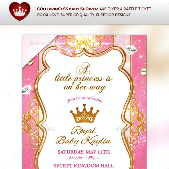 Gold Princess Baby Shower Invitation & Diaper Raffle Ticket