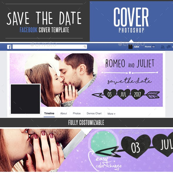 Save The Date Facebook Timeline Cover Template