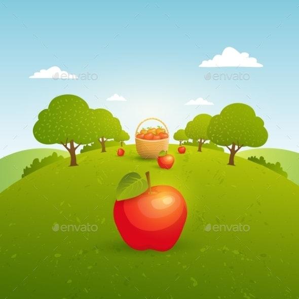 Apple Garden Illustration - Landscapes Nature
