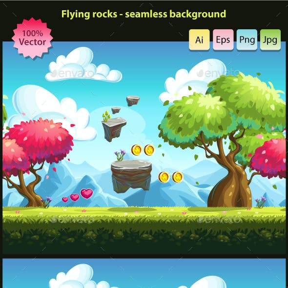 Flying rocks - seamless background