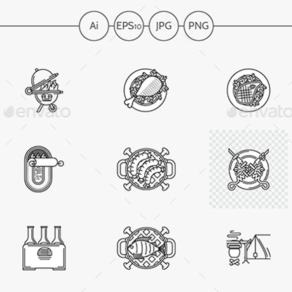 Barbecue flat line vector icons