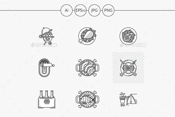 Barbecue flat line vector icons - Food Objects