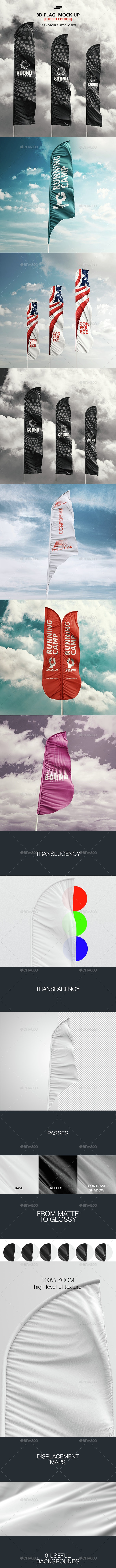 3D Feather Flags / Bow / Sail Flag Mockup - Signage Print