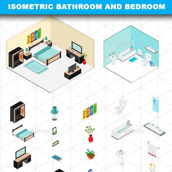 Isometric Bathroom and Bedroom