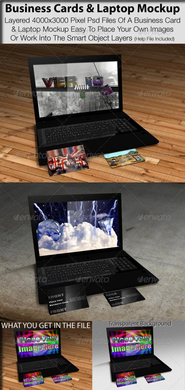Business Card & Laptop Mockup - Monitors Displays