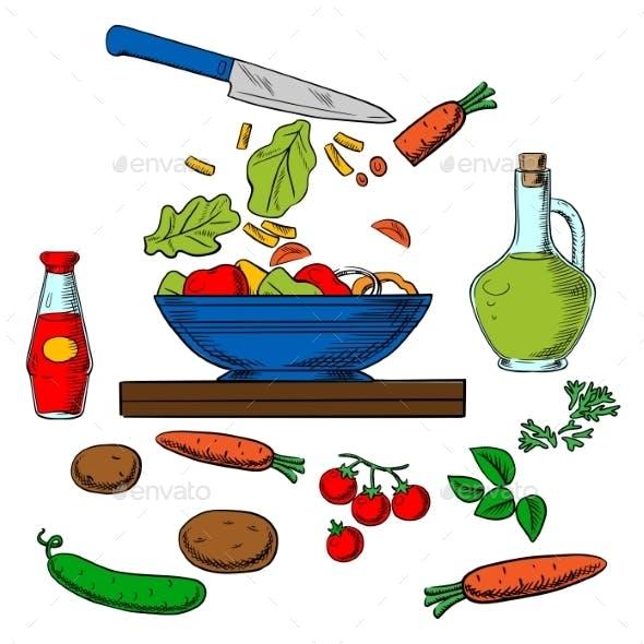 Vegetarian Vegetable Salad Cooking Process