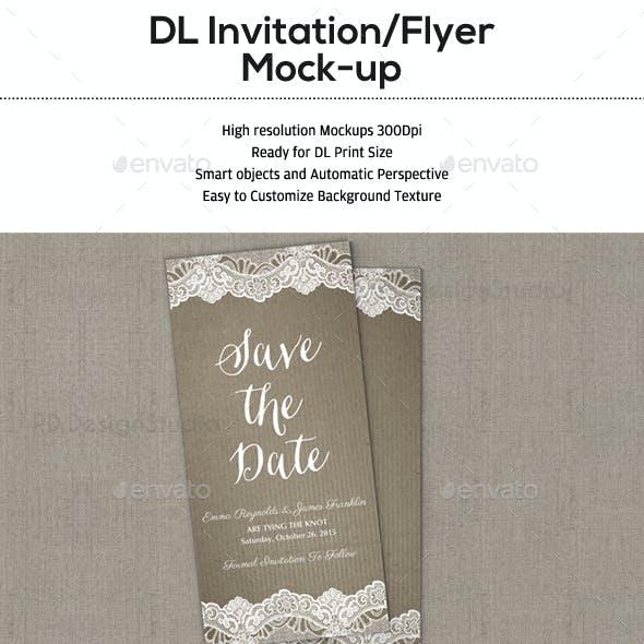 Photorealistic DL Invitation Card Mock-Up