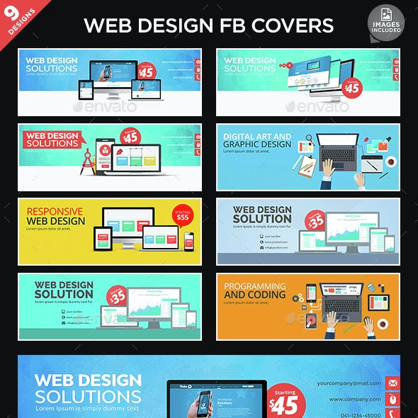 Web Design Facebook Cover Bundle - 9 Designs