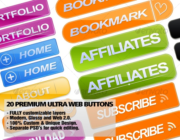 20 Premium Ultra Web Buttons. - Buttons Web Elements
