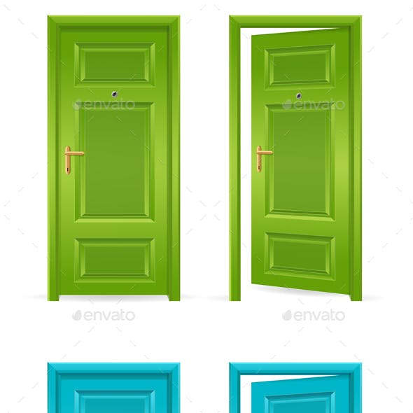 Green and Blue Door Open and Closed. Vector