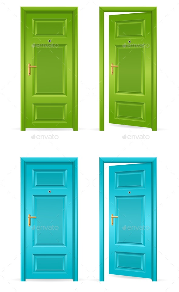 Green and Blue Door Open and Closed. Vector - Objects Vectors