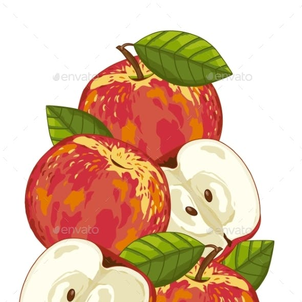 Apple Isolated, Vector, Composition.