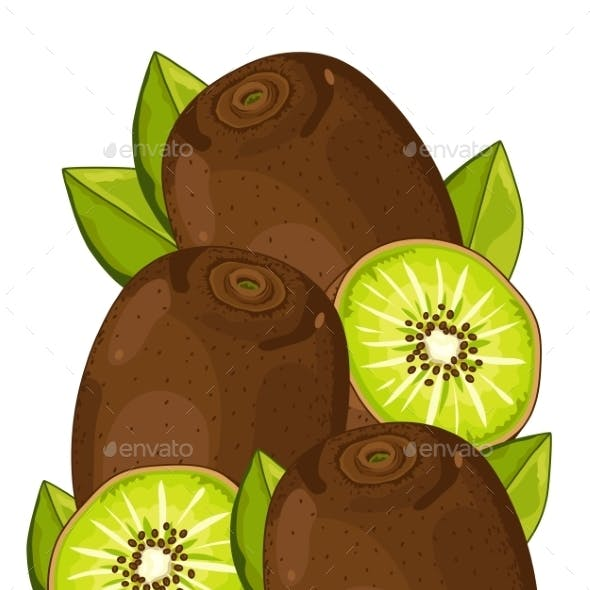 Kiwi Isolated, Vector, Composition.