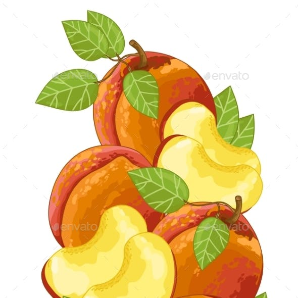 Peach Isolated, Vector, Composition.