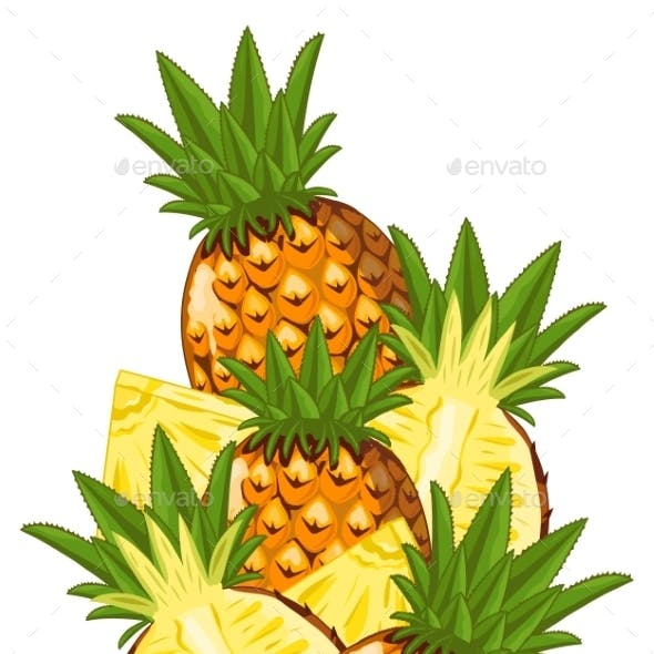 Pineapple Isolated, Vector, Composition.
