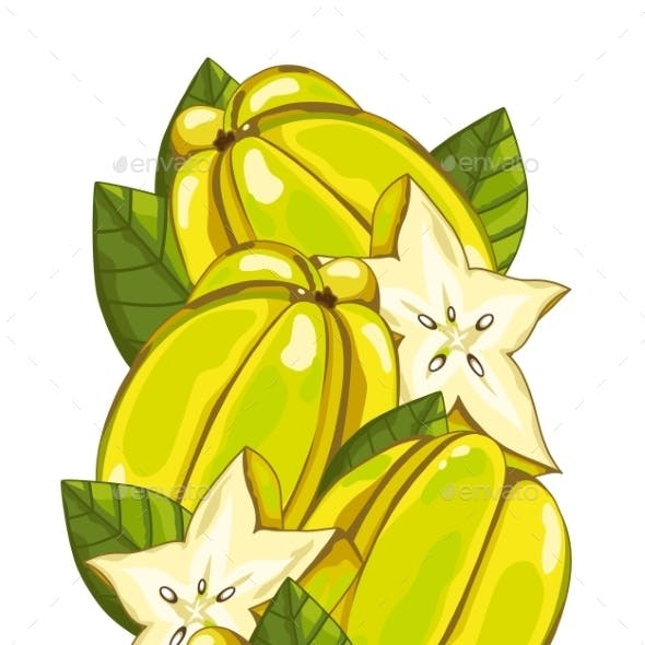 Star Fruit Isolated, Vector, Composition.