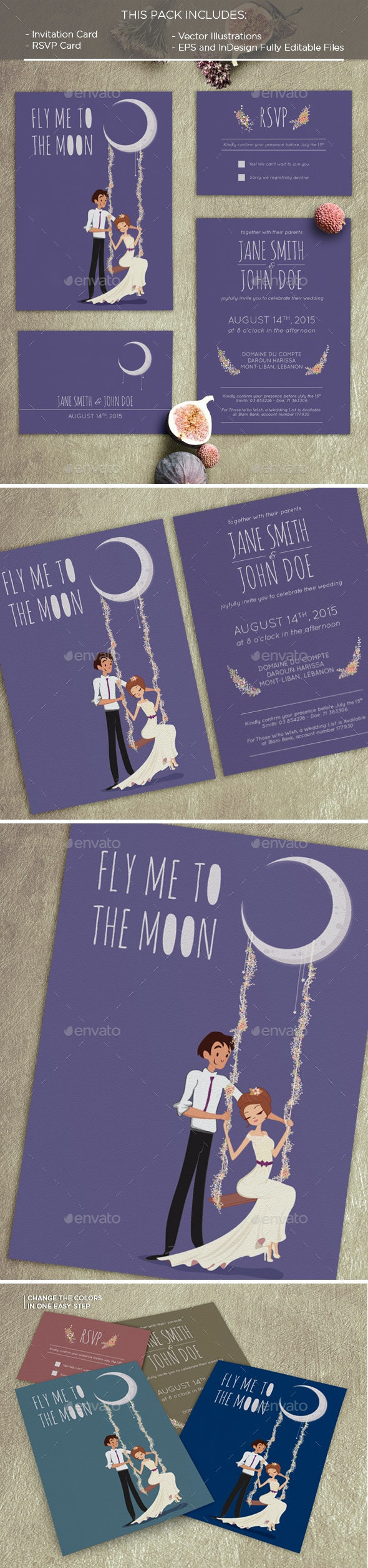 To the Moon Invitation Card - Weddings Cards & Invites