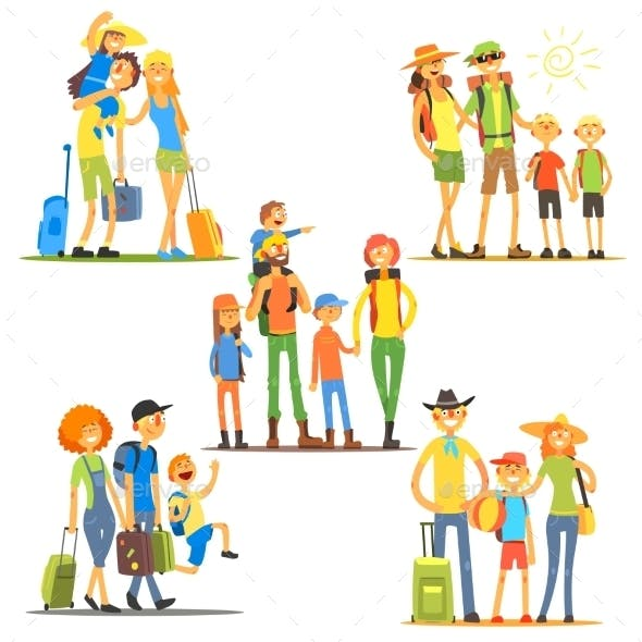 Families On Vacation. Vector Illustration