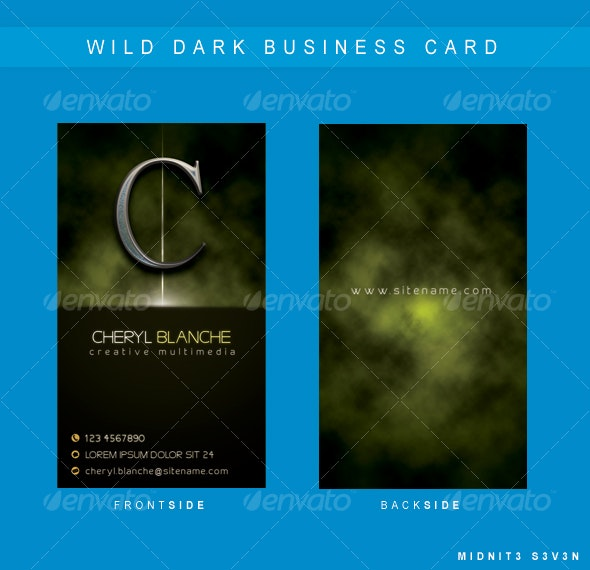 Wild Dark Business Card - Grunge Business Cards