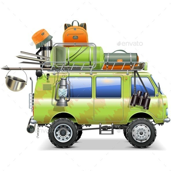 Travel Car with Camping Accessories