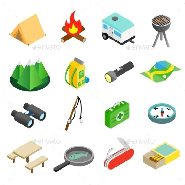 Camping Isometric 3d Icons