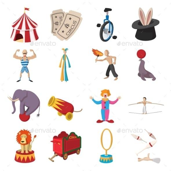 Circus Show Icons Cartoon Collection