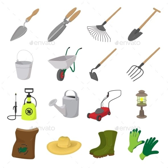 Garden Cartoon Icons Set