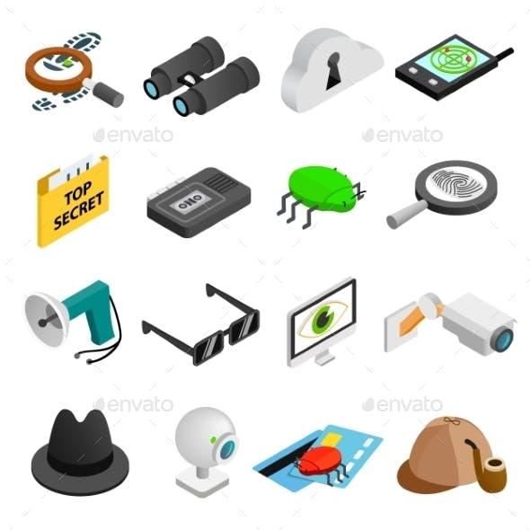 Spy Isometric 3d Icons