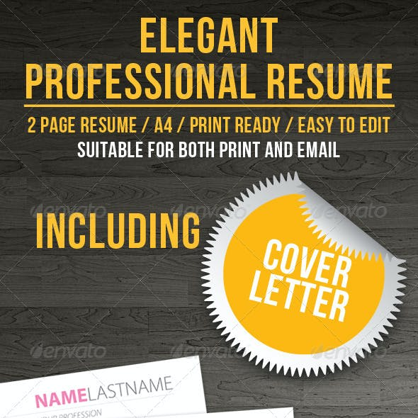 Elegenat Professional Resume + Cover Letter