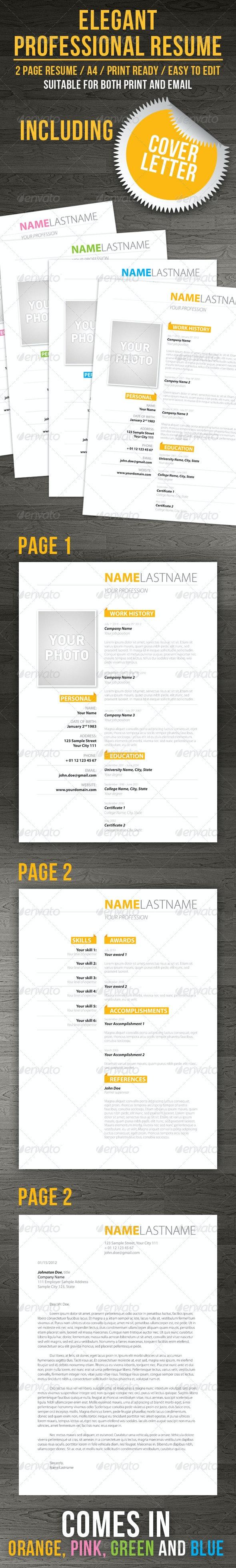 Elegenat Professional Resume + Cover Letter - Resumes Stationery