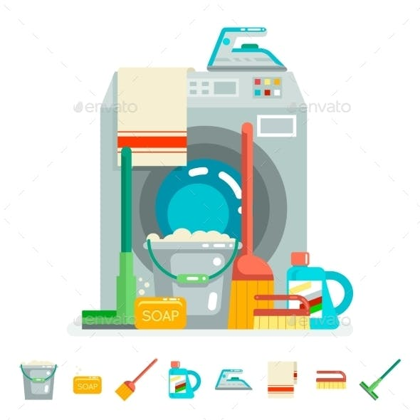 Cleaning Washing Concept Supplies Icons  Flat