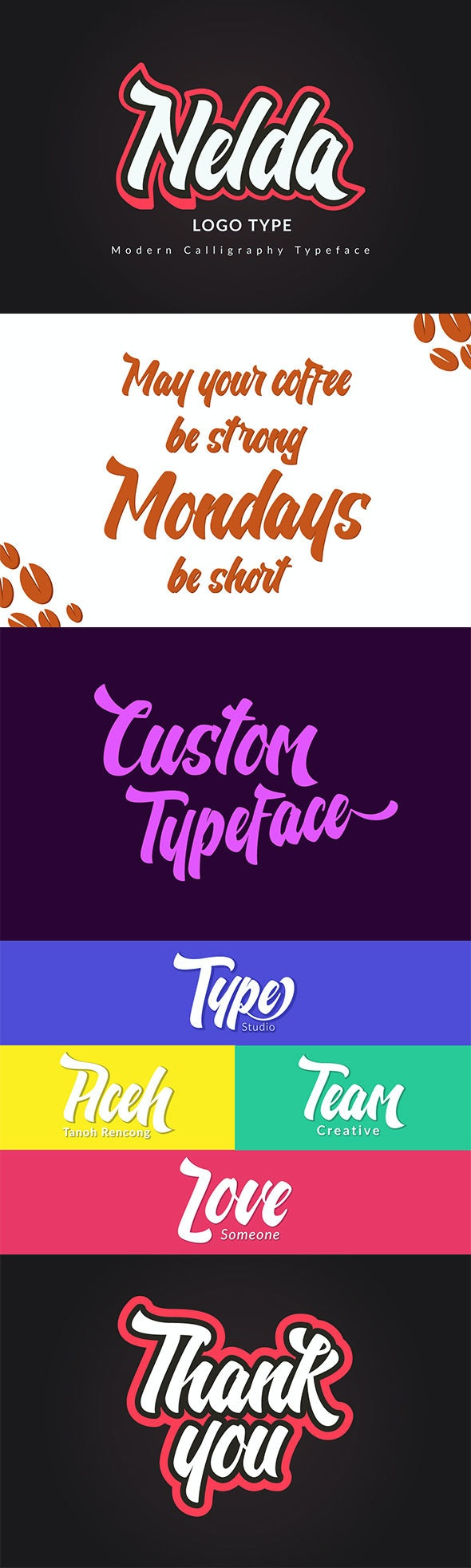 Nelda Typeface - Logo Type - Calligraphy Script