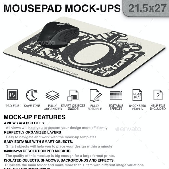 Mouse Pad Mockups - 21.5 x 27 - Corner Type 1