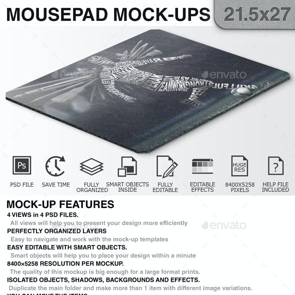 Mouse Pad Mockups - 21.5 x 27 - Corner Type 3